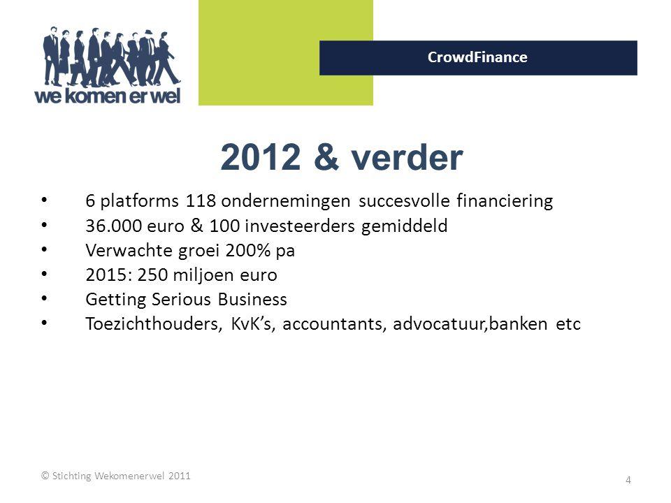 © Stichting Wekomenerwel 2011 4 CrowdFinance 2012 & verder 6 platforms 118 ondernemingen succesvolle financiering 36.000 euro & 100 investeerders gemi