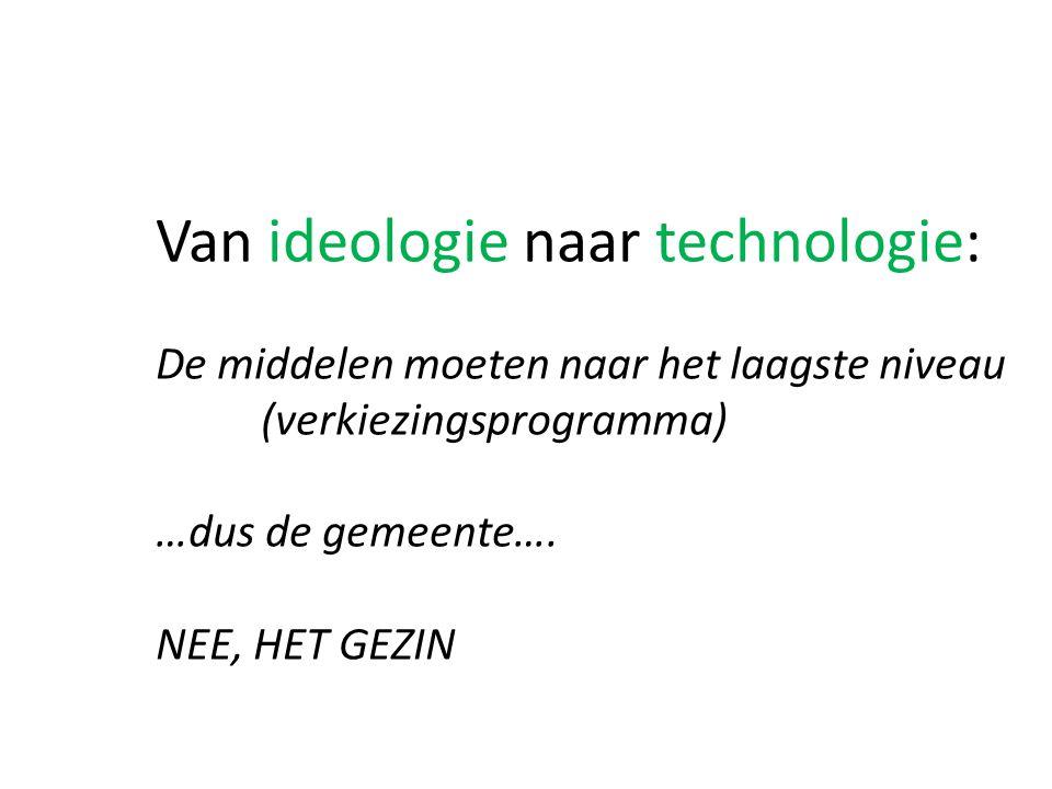 Van ideologie naar technologie: De middelen moeten naar het laagste niveau (verkiezingsprogramma) …dus de gemeente….