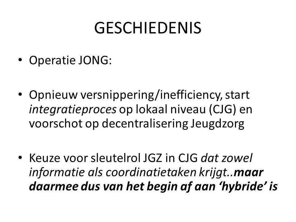 GESCHIEDENIS Operatie JONG: Opnieuw versnippering/inefficiency, start integratieproces op lokaal niveau (CJG) en voorschot op decentralisering Jeugdzorg Keuze voor sleutelrol JGZ in CJG dat zowel informatie als coordinatietaken krijgt..maar daarmee dus van het begin af aan 'hybride' is