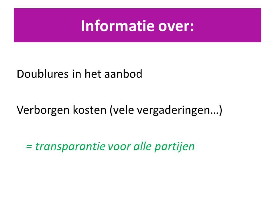 Informatie over: Doublures in het aanbod Verborgen kosten (vele vergaderingen…) = transparantie voor alle partijen