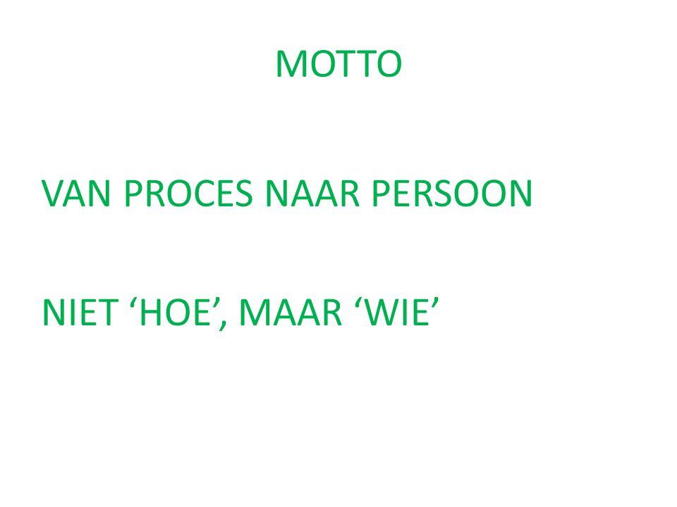 MOTTO VAN PROCES NAAR PERSOON NIET 'HOE', MAAR 'WIE'