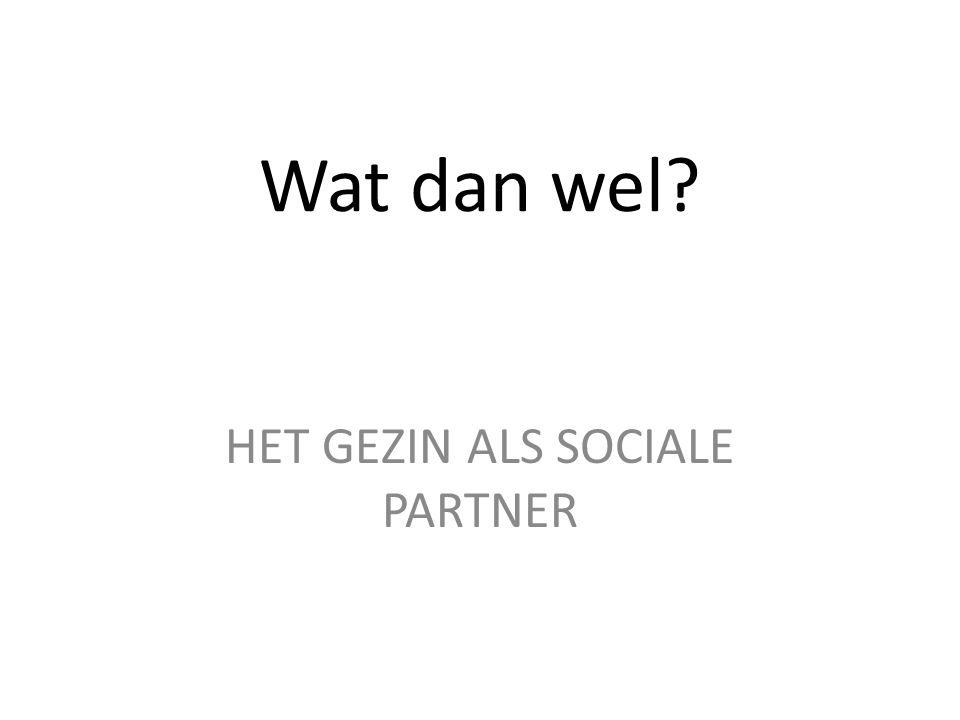 Wat dan wel HET GEZIN ALS SOCIALE PARTNER