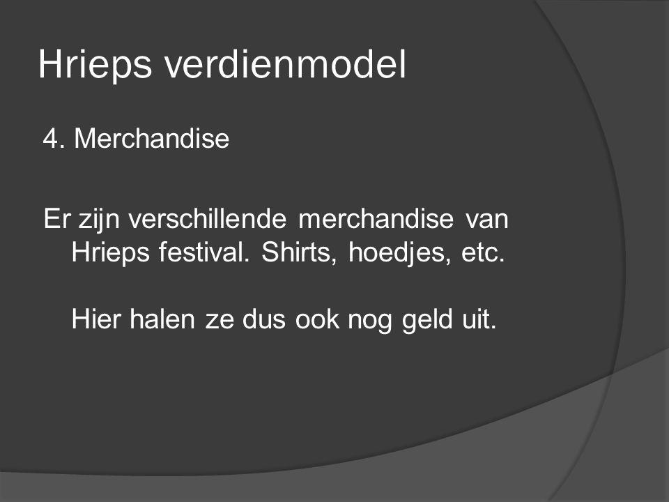 Hrieps verdienmodel 4. Merchandise Er zijn verschillende merchandise van Hrieps festival. Shirts, hoedjes, etc. Hier halen ze dus ook nog geld uit.