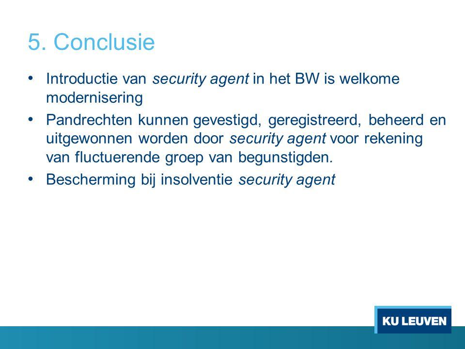5. Conclusie Introductie van security agent in het BW is welkome modernisering Pandrechten kunnen gevestigd, geregistreerd, beheerd en uitgewonnen wor