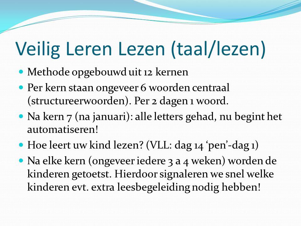 Veilig Leren Lezen (taal/lezen) Methode opgebouwd uit 12 kernen Per kern staan ongeveer 6 woorden centraal (structureerwoorden). Per 2 dagen 1 woord.