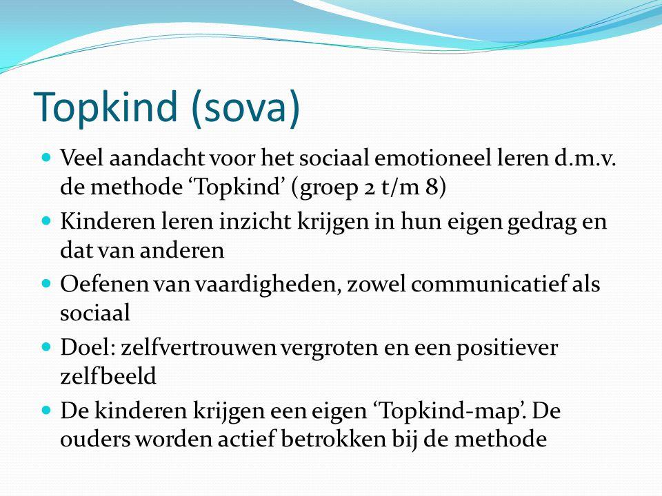 Topkind (sova) Veel aandacht voor het sociaal emotioneel leren d.m.v. de methode 'Topkind' (groep 2 t/m 8) Kinderen leren inzicht krijgen in hun eigen