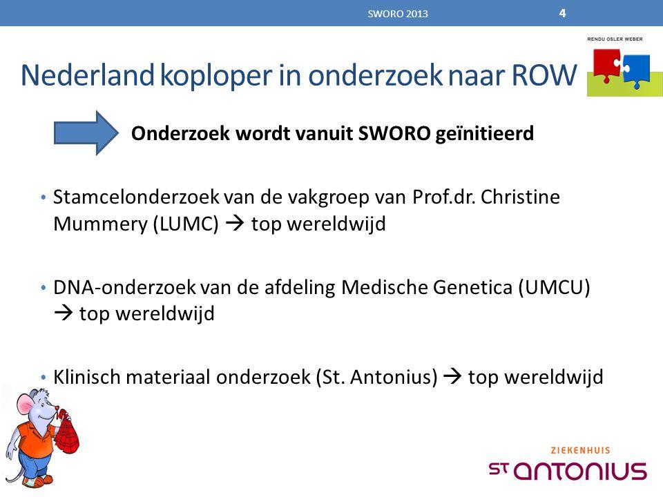 Nederland koploper in onderzoek naar ROW Onderzoek wordt vanuit SWORO geïnitieerd Stamcelonderzoek van de vakgroep van Prof.dr.