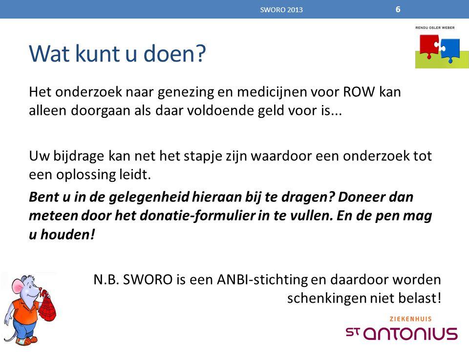 Het onderzoek naar genezing en medicijnen voor ROW kan alleen doorgaan als daar voldoende geld voor is...