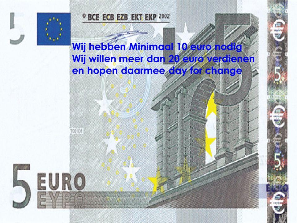 Wij hebben Minimaal 10 euro nodig Wij willen meer dan 20 euro verdienen en hopen daarmee day for change