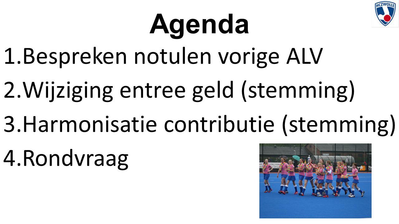 Agenda 1.Bespreken notulen vorige ALV 2.Wijziging entree geld (stemming) 3.Harmonisatie contributie (stemming) 4.Rondvraag