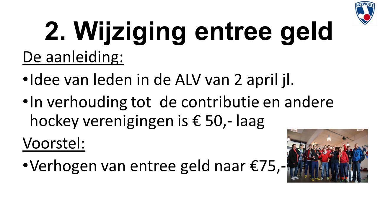 2. Wijziging entree geld De aanleiding: Idee van leden in de ALV van 2 april jl. In verhouding tot de contributie en andere hockey verenigingen is € 5