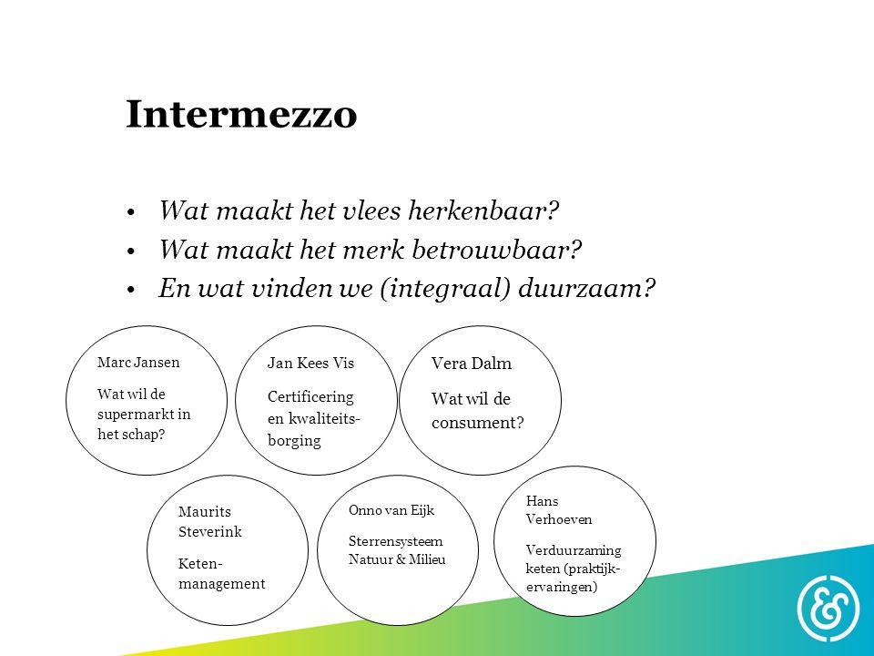 Intermezzo Wat maakt het vlees herkenbaar? Wat maakt het merk betrouwbaar? En wat vinden we (integraal) duurzaam? Vera Dalm Wat wil de consument? Onno