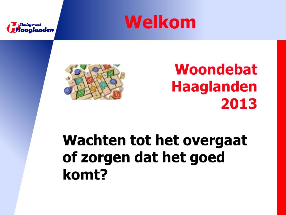 Welkom Woondebat Haaglanden 2013 Wachten tot het overgaat of zorgen dat het goed komt