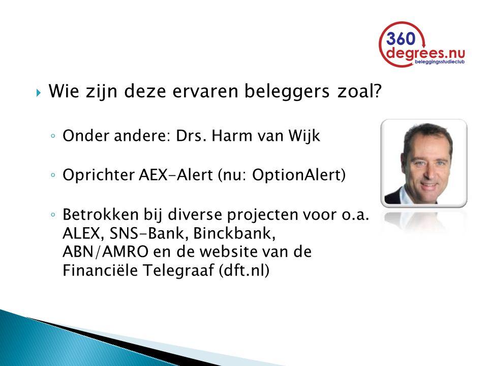  Wie zijn deze ervaren beleggers zoal? ◦ Onder andere: Drs. Harm van Wijk ◦ Oprichter AEX-Alert (nu: OptionAlert) ◦ Betrokken bij diverse projecten v