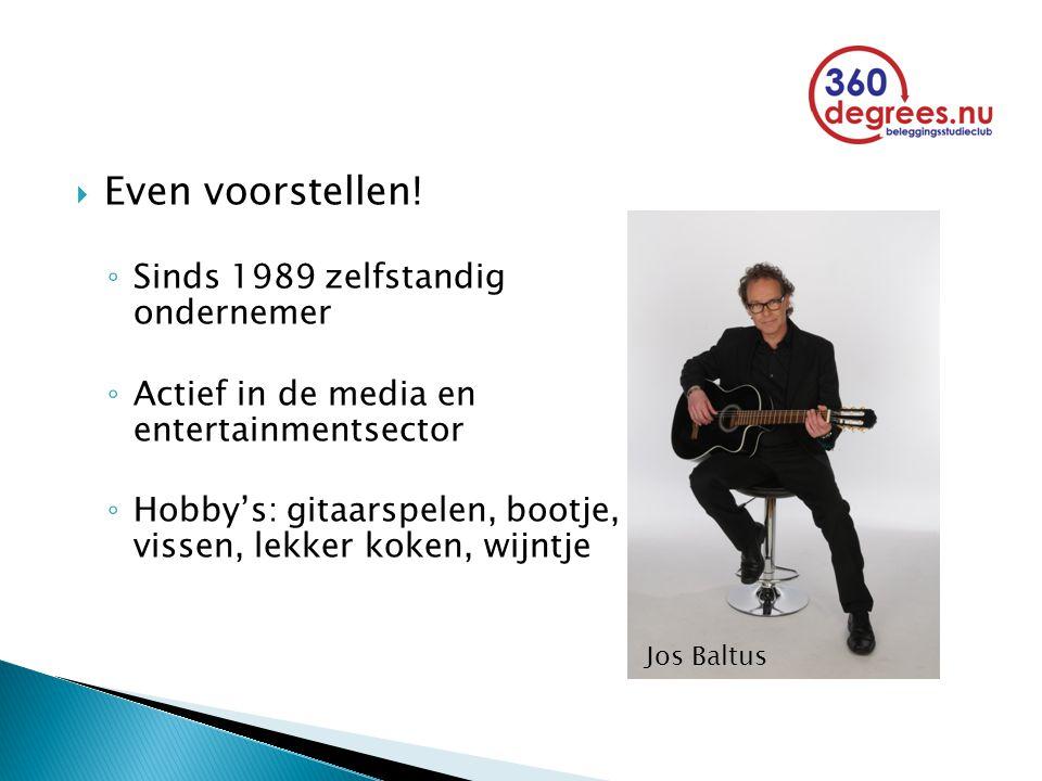  Even voorstellen! ◦ Sinds 1989 zelfstandig ondernemer ◦ Actief in de media en entertainmentsector ◦ Hobby's: gitaarspelen, bootje, vissen, lekker ko