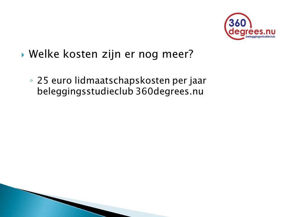  Welke kosten zijn er nog meer? ◦ 25 euro lidmaatschapskosten per jaar beleggingsstudieclub 360degrees.nu