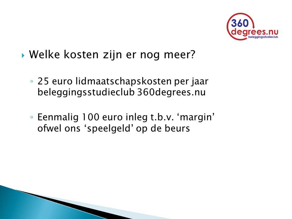  Welke kosten zijn er nog meer? ◦ 25 euro lidmaatschapskosten per jaar beleggingsstudieclub 360degrees.nu ◦ Eenmalig 100 euro inleg t.b.v. 'margin' o