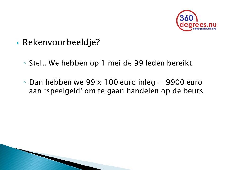  Rekenvoorbeeldje? ◦ Stel.. We hebben op 1 mei de 99 leden bereikt ◦ Dan hebben we 99 x 100 euro inleg = 9900 euro aan 'speelgeld' om te gaan handele