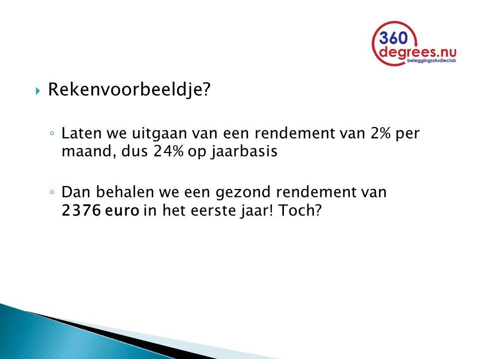  Rekenvoorbeeldje? ◦ Laten we uitgaan van een rendement van 2% per maand, dus 24% op jaarbasis ◦ Dan behalen we een gezond rendement van 2376 euro in