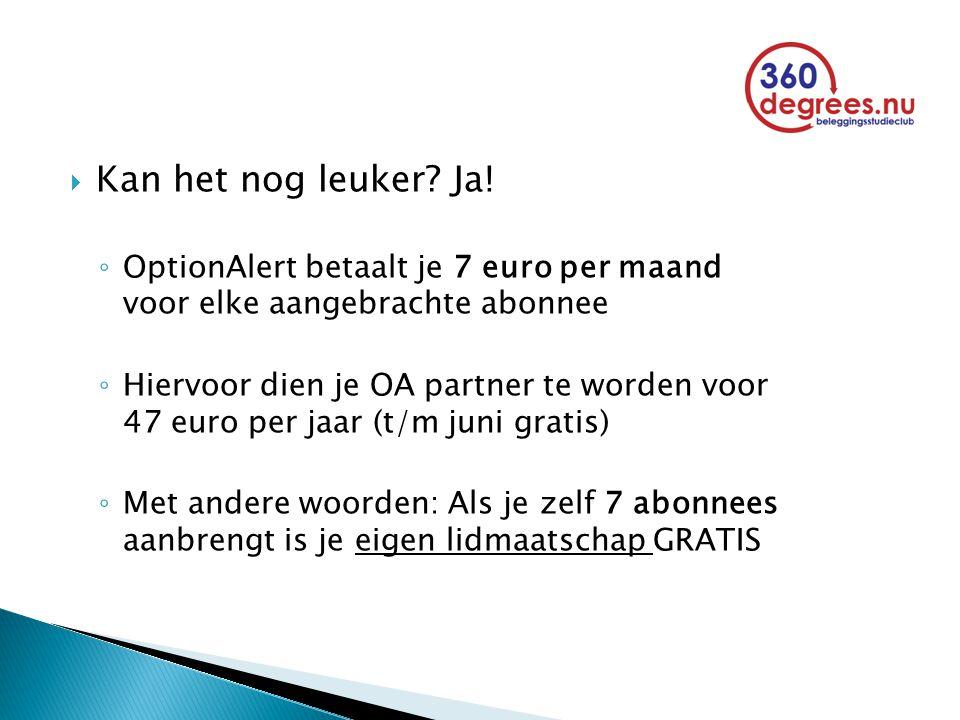  Kan het nog leuker? Ja! ◦ OptionAlert betaalt je 7 euro per maand voor elke aangebrachte abonnee ◦ Hiervoor dien je OA partner te worden voor 47 eur