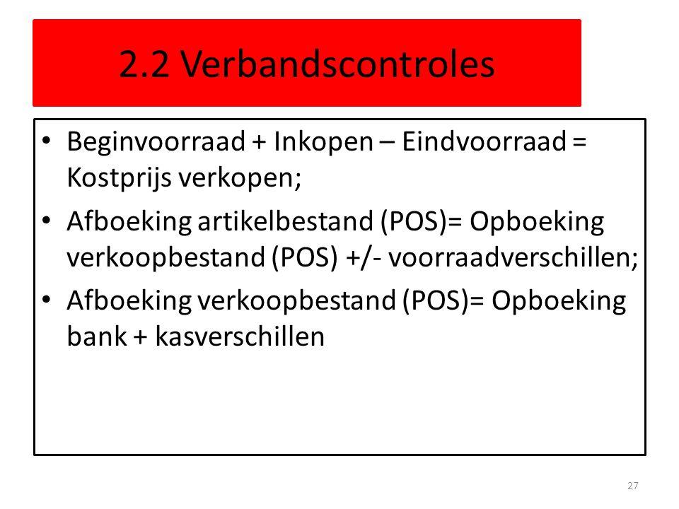 2.2 Verbandscontroles Beginvoorraad + Inkopen – Eindvoorraad = Kostprijs verkopen; Afboeking artikelbestand (POS)= Opboeking verkoopbestand (POS) +/-