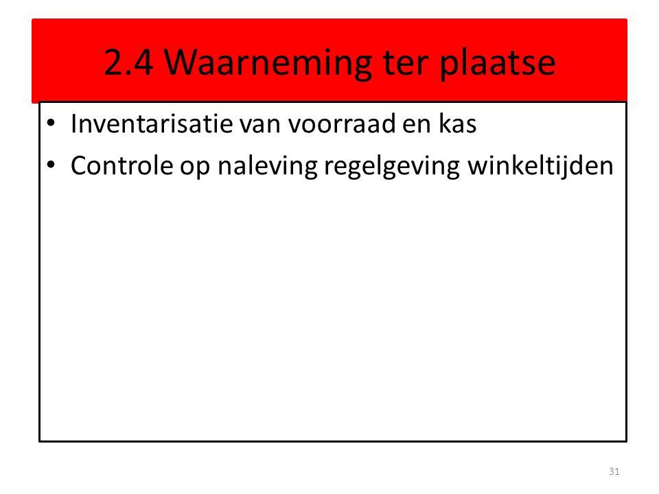 2.4 Waarneming ter plaatse Inventarisatie van voorraad en kas Controle op naleving regelgeving winkeltijden 31