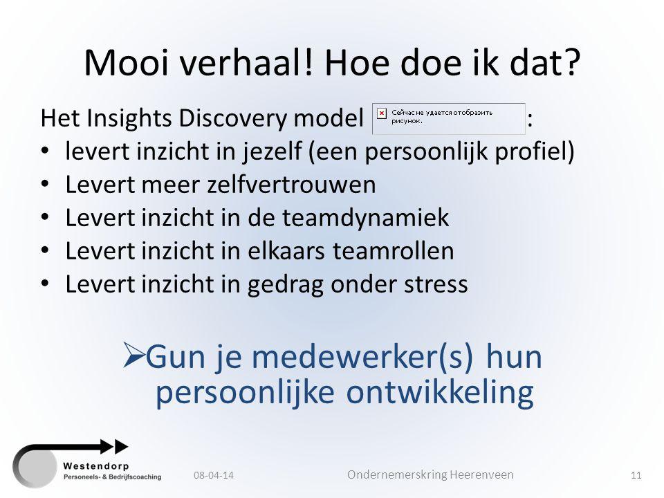 Mooi verhaal! Hoe doe ik dat? Het Insights Discovery model : levert inzicht in jezelf (een persoonlijk profiel) Levert meer zelfvertrouwen Levert inzi