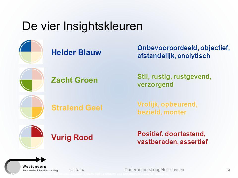 08-04-14 Ondernemerskring Heerenveen 14 Positief, doortastend, vastberaden, assertief Vrolijk, opbeurend, bezield, monter Stil, rustig, rustgevend, ve