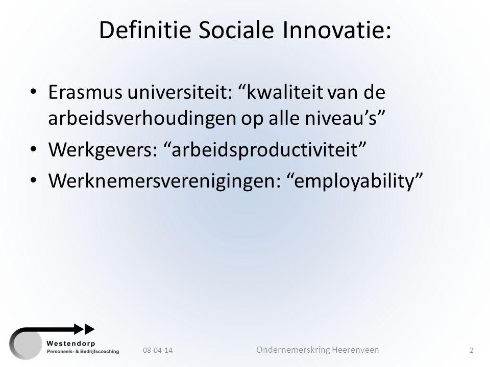 """Definitie Sociale Innovatie: Erasmus universiteit: """"kwaliteit van de arbeidsverhoudingen op alle niveau's"""" Werkgevers: """"arbeidsproductiviteit"""" Werknem"""
