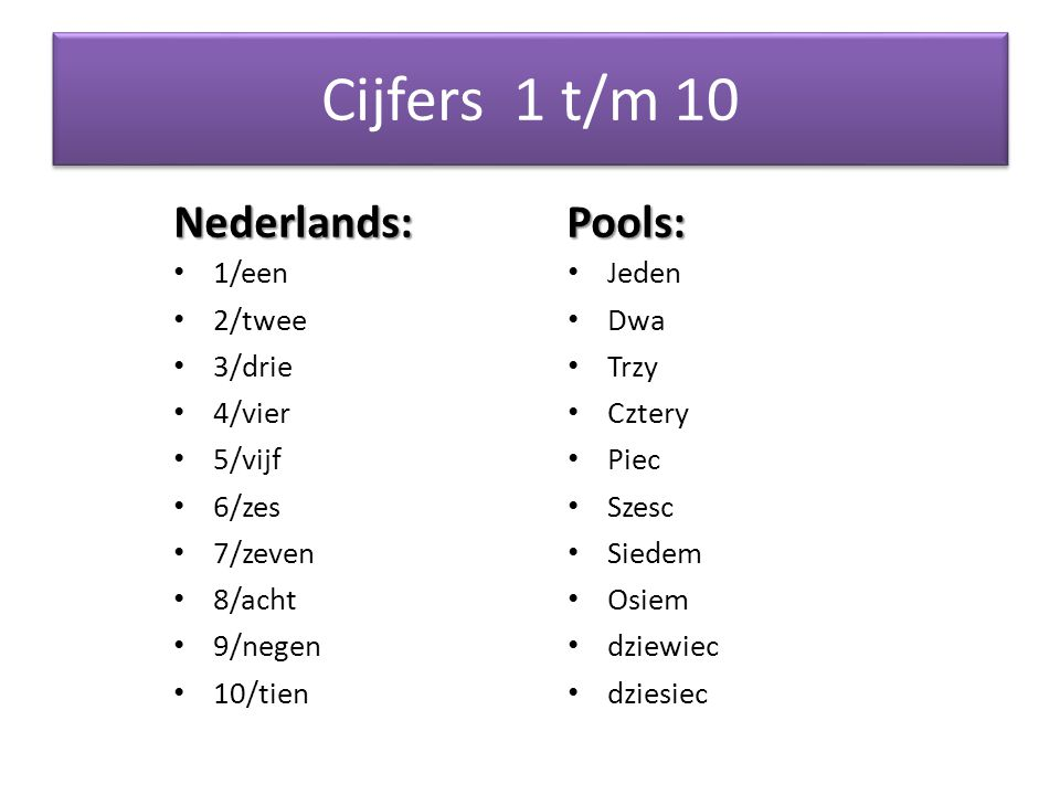 Cijfers 1 t/m 10 Nederlands: Pools: 1/een 2/twee 3/drie 4/vier 5/vijf 6/zes 7/zeven 8/acht 9/negen 10/tien Jeden Dwa Trzy Cztery Piec Szesc Siedem Osiem dziewiec dziesiec