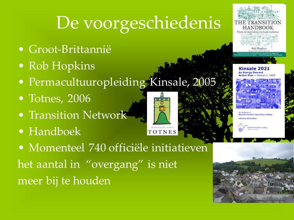 De voorgeschiedenis Groot-Brittannië Rob Hopkins Permacultuuropleiding Kinsale, 2005 Totnes, 2006 Transition Network Handboek Momenteel 740 officiële initiatieven het aantal in overgang is niet meer bij te houden