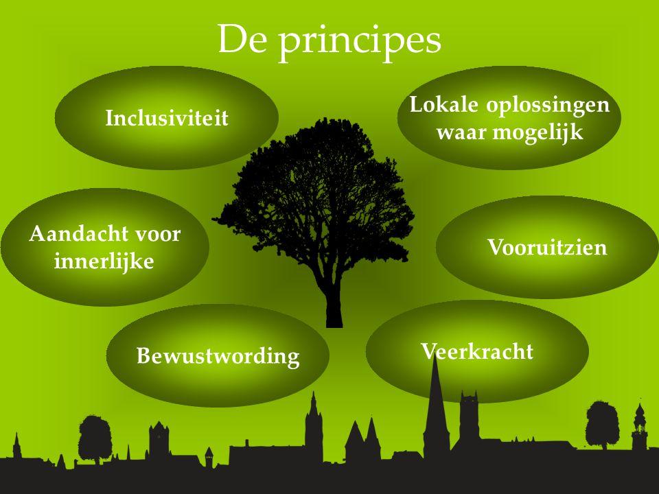 De principes Aandacht voor innerlijke Bewustwording Inclusiviteit Lokale oplossingen waar mogelijk Vooruitzien Veerkracht