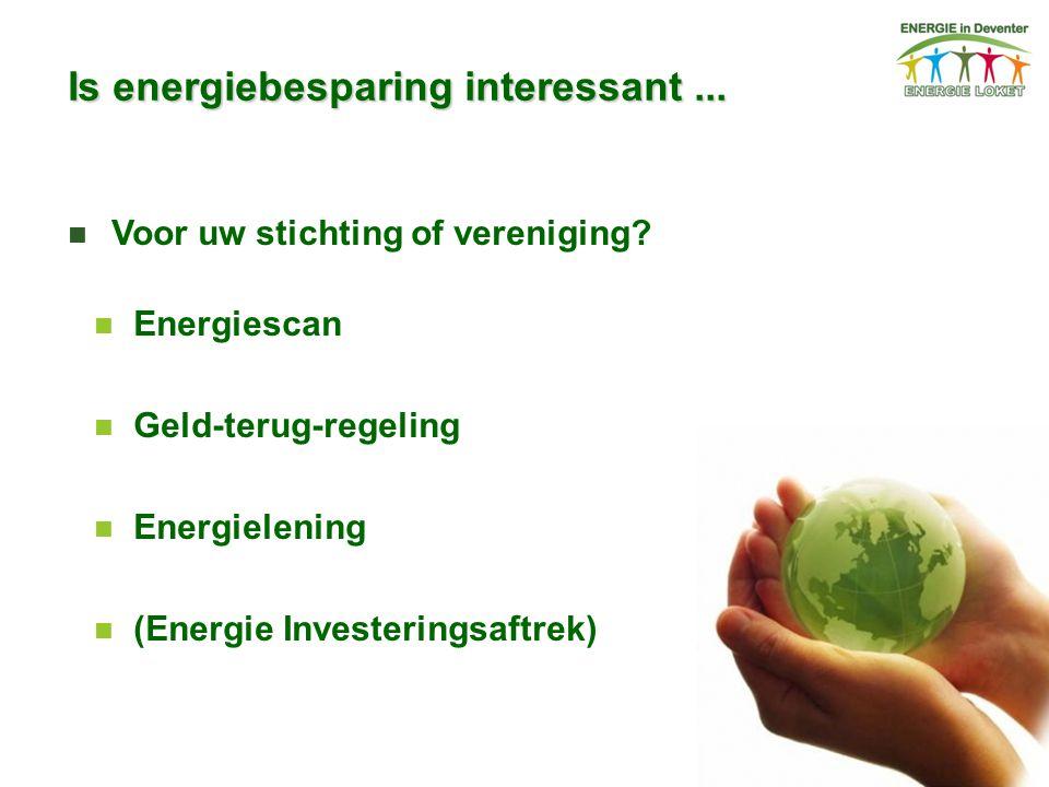 Is energiebesparing interessant... Voor uw stichting of vereniging? Energiescan Geld-terug-regeling Energielening (Energie Investeringsaftrek)