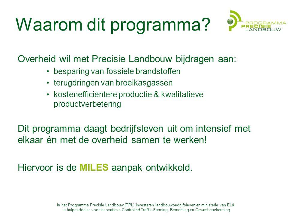 In het Programma Precisie Landbouw (PPL) investeren landbouwbedrijfsleven en ministerie van EL&I in hulpmiddelen voor innovatieve Controlled Traffic Farming, Bemesting en Gewasbescherming