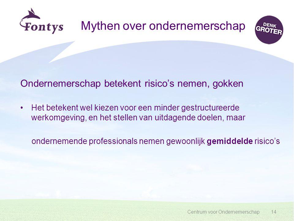 Centrum voor Ondernemerschap14 Mythen over ondernemerschap Ondernemerschap betekent risico's nemen, gokken Het betekent wel kiezen voor een minder ges