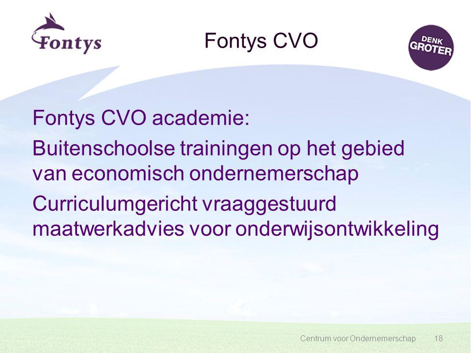 Centrum voor Ondernemerschap18 Fontys CVO Fontys CVO academie: Buitenschoolse trainingen op het gebied van economisch ondernemerschap Curriculumgerich