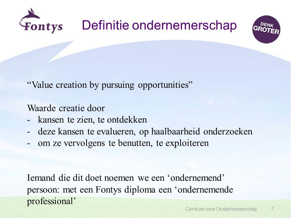 """Centrum voor Ondernemerschap7 Definitie ondernemerschap """"Value creation by pursuing opportunities"""" Waarde creatie door -kansen te zien, te ontdekken -"""