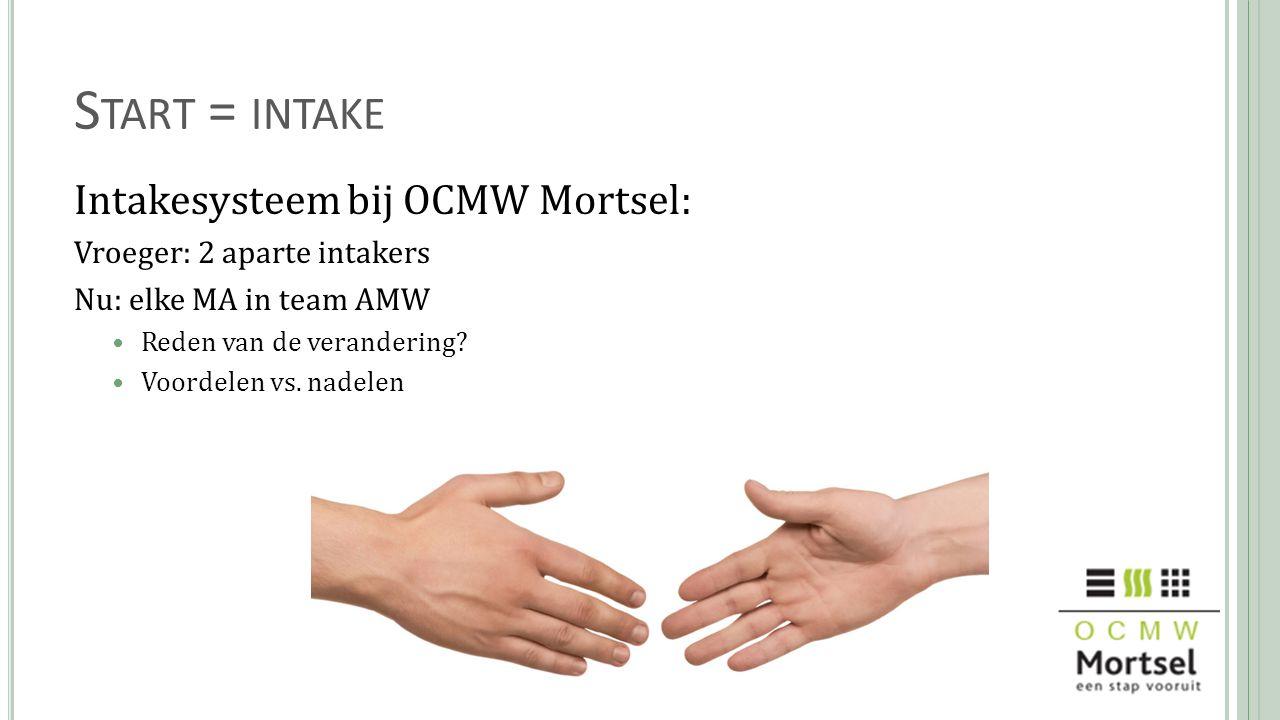 S TART = INTAKE Intakesysteem bij OCMW Mortsel: Vroeger: 2 aparte intakers Nu: elke MA in team AMW Reden van de verandering? Voordelen vs. nadelen