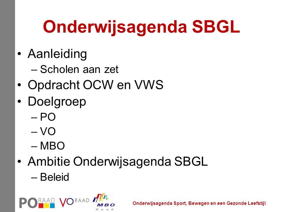 Onderwijsagenda SBGL Aanleiding –Scholen aan zet Opdracht OCW en VWS Doelgroep –PO –VO –MBO Ambitie Onderwijsagenda SBGL –Beleid Onderwijsagenda Sport