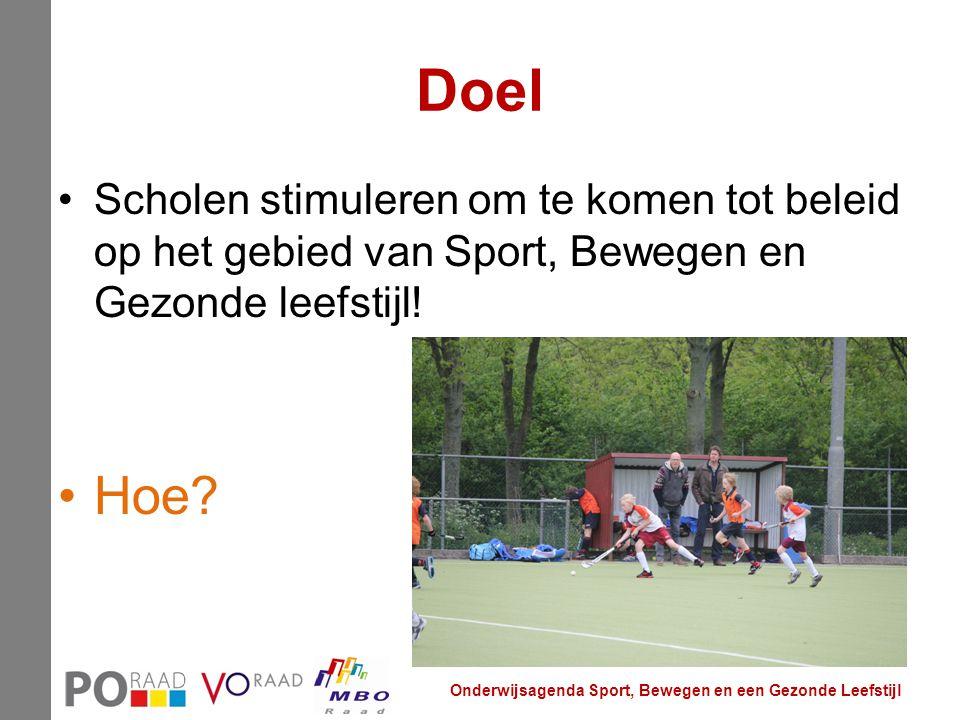 Doel Scholen stimuleren om te komen tot beleid op het gebied van Sport, Bewegen en Gezonde leefstijl! Hoe? Onderwijsagenda Sport, Bewegen en een Gezon