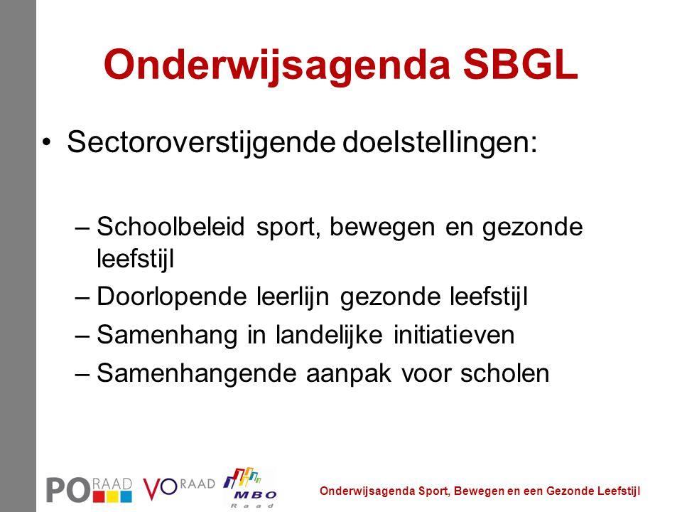 Onderwijsagenda SBGL Sectoroverstijgende doelstellingen: –Schoolbeleid sport, bewegen en gezonde leefstijl –Doorlopende leerlijn gezonde leefstijl –Sa