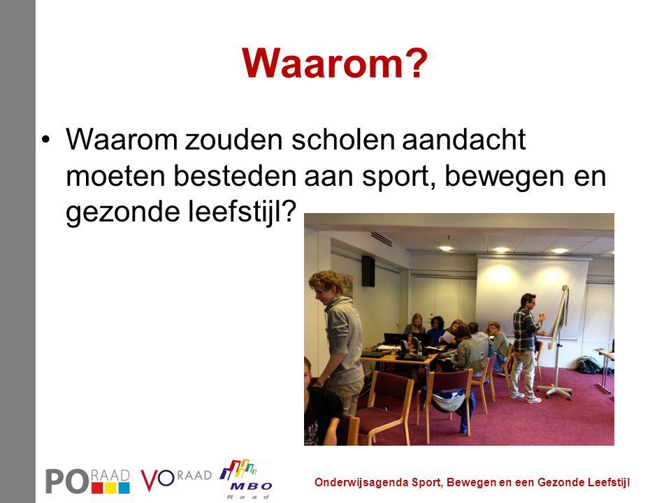 Waarom? Waarom zouden scholen aandacht moeten besteden aan sport, bewegen en gezonde leefstijl? Onderwijsagenda Sport, Bewegen en een Gezonde Leefstij