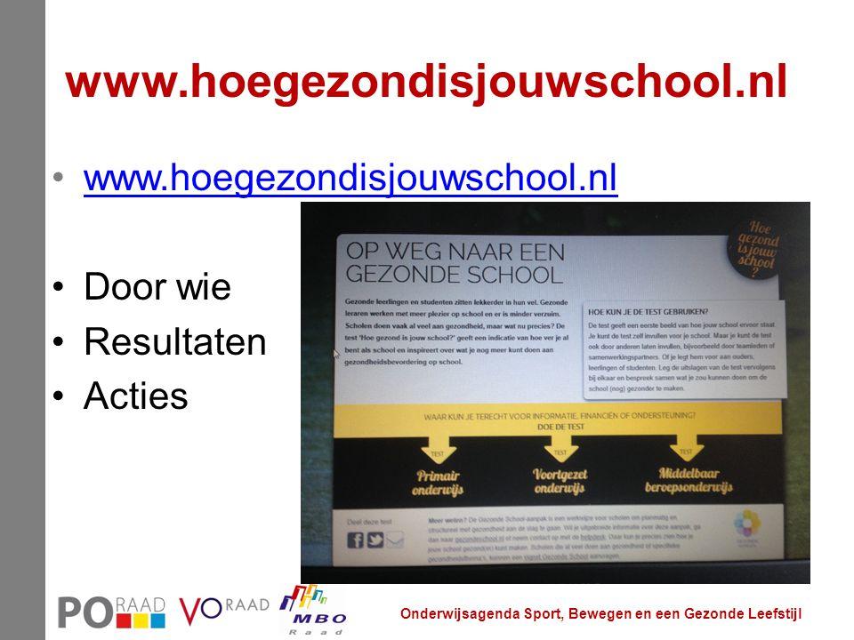 www.hoegezondisjouwschool.nl Door wie Resultaten Acties Onderwijsagenda Sport, Bewegen en een Gezonde Leefstijl
