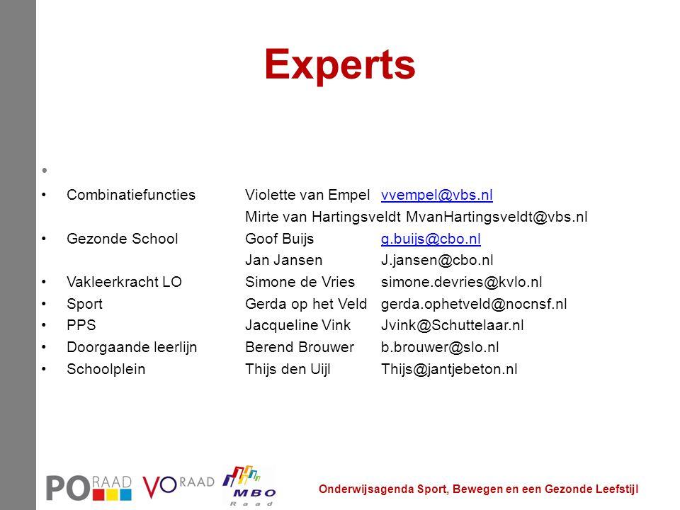 Experts CombinatiefunctiesViolette van Empelvvempel@vbs.nlvvempel@vbs.nl Mirte van Hartingsveldt MvanHartingsveldt@vbs.nl Gezonde SchoolGoof Buijsg.bu