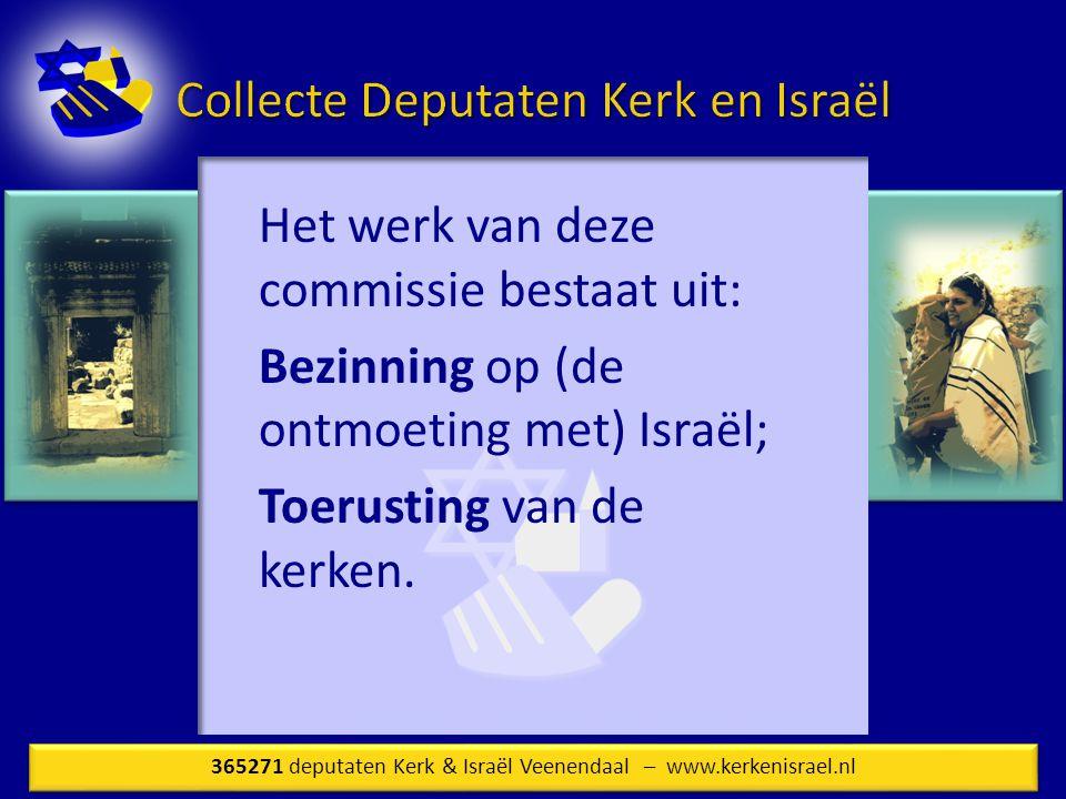 Het werk van deze commissie bestaat uit: Bezinning op (de ontmoeting met) Israël; Toerusting van de kerken.