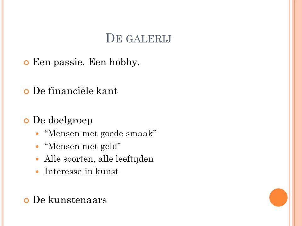 D E GALERIJ Een passie. Een hobby.