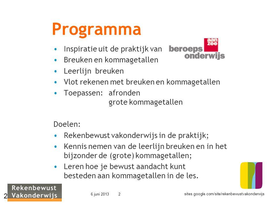 sites.google.com/site/rekenbewustvakonderwijs 6 juni 20132 Programma Inspiratie uit de praktijk van Breuken en kommagetallen Leerlijn breuken Vlot rek