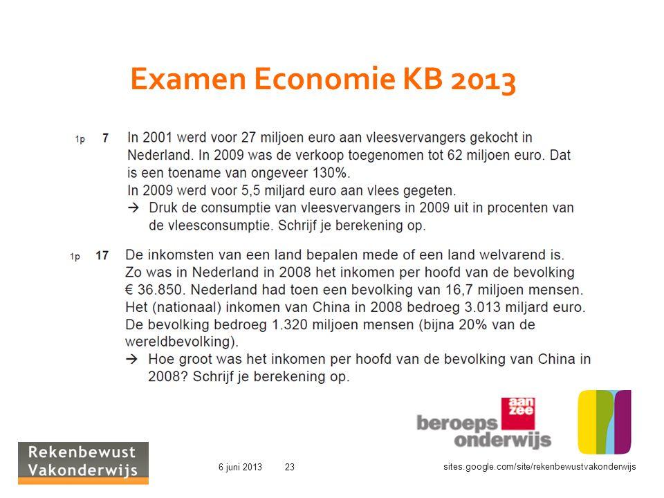 sites.google.com/site/rekenbewustvakonderwijs 6 juni 201323 Examen Economie KB 2013