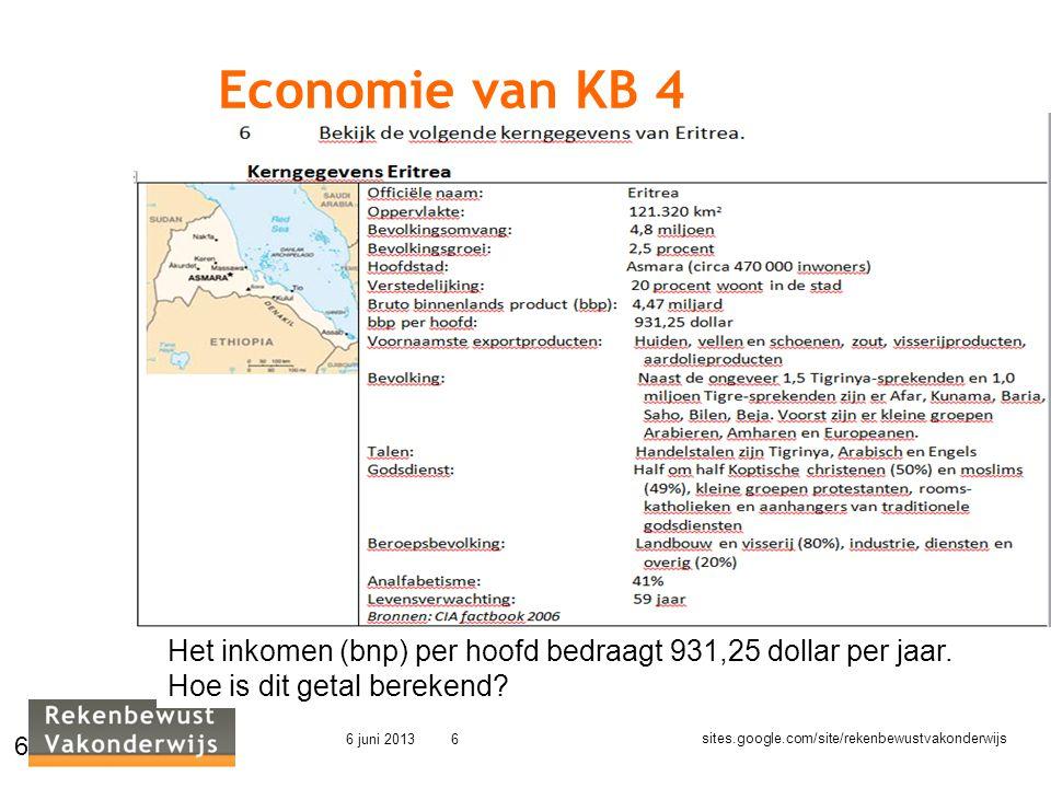 sites.google.com/site/rekenbewustvakonderwijs 6 juni 20136 Economie van KB 4 6 Het inkomen (bnp) per hoofd bedraagt 931,25 dollar per jaar. Hoe is dit