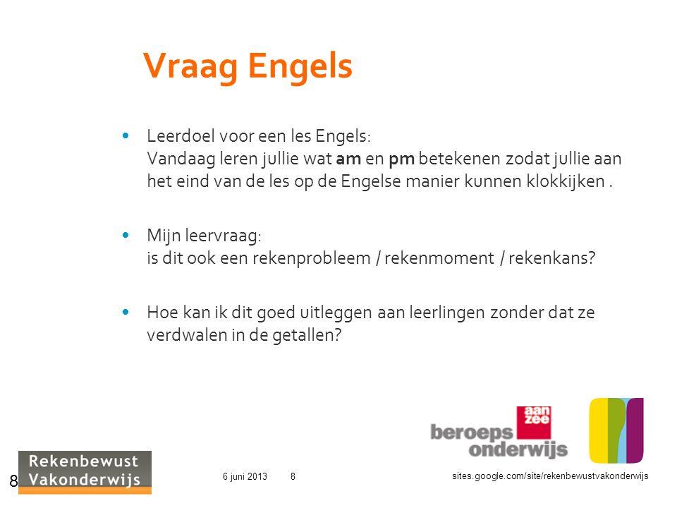 sites.google.com/site/rekenbewustvakonderwijs 6 juni 20138 Vraag Engels Leerdoel voor een les Engels: Vandaag leren jullie wat am en pm betekenen zoda